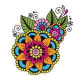 Henna Mehndi Flower Ornament astratta disegnata a mano Fotografia Stock Libera da Diritti