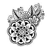 Henna Mehndi Flower Ornament astratta disegnata a mano Immagini Stock