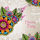Henna Mehndi Flower Ornament astratta disegnata a mano Fotografia Stock