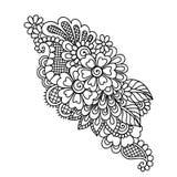 Henna Mehndi Flower Ornament astratta disegnata a mano Immagini Stock Libere da Diritti