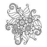Henna Mehndi Flower Ornament astratta disegnata a mano Immagine Stock Libera da Diritti