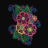 Henna Mehndi Flower Ornament astratta variopinta disegnata a mano Fotografia Stock