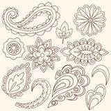 Henna Mehndi Flowers and Paisley Vector. Hand-Drawn Abstract Henna Mehndi Flowers and Paisley Doodle Vector Illustration Design Elements Stock Image