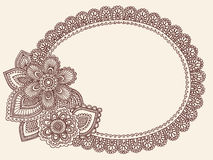 Henna Mehndi Lace Doily Paisley Doodle Vector. Hand-Drawn Abstract Henna Mehndi Lace Doily Paisley Flower Doodle Frame-  Vector Illustration Design Border Stock Photography