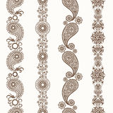 Henna mehndi ornamental borders Stock Photography