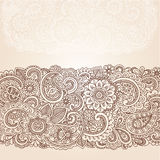 Henna Mehndi Paisley Border Design Vector. Henna Flowers and Paisley Mehndi Tattoo Edge Design Doodle royalty free illustration