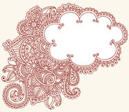 Henna Mehndi Paisley Cloud Doodle Design. Hand-Drawn Abstract Henna Mehndi Tattoo Design Royalty Free Stock Photo