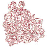 Henna Mehndi Paisley Doodle Design. Hand-Drawn Abstract Henna Mehndi Tattoo Design Stock Photography