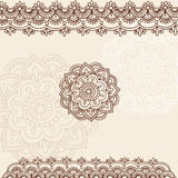 Henna Mehndi Paisley Doodle Vector Design. Hand-Drawn Henna Mehndi Tattoo Flower Mandala Medallion Doodle Design with Border- Vector Illustration Design Elements Royalty Free Stock Photography