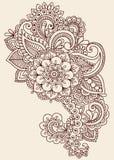 Henna Mehndi Paisley Doodle Vector Design. Henna Paisley Flowers Mehndi Tattoo Doodles Design- Abstract Floral Illustration Design Elements