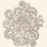 Henna Mehndi Paisley Doodle Vines and Flowers. Hand-Drawn Abstract Henna Mehndi Tattoo Design Stock Photos