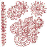 Henna Mehndi Paisley Doodles. Hand-Drawn Abstract Henna Mehndi Paisley Tattoo Doodle Designs and Border- Vector Illustration Design Elements Royalty Free Stock Photo