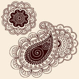 Henna Mehndi Paisley Flower Doodle Design. Hand-Drawn Abstract Henna Mehndi Tattoo Flower Mandala Medallion and Paisley Doodle Designs- Vector Illustration Royalty Free Stock Photography