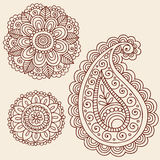 Henna Mehndi Paisley Flower Doodle Design. Hand-Drawn Abstract Henna Mehndi Tattoo Flower Mandala Medallion and Paisley Doodle Designs- Vector Illustration Royalty Free Stock Photo