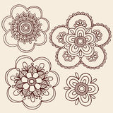 Henna Mehndi Paisley Flower Doodle Design. Hand-Drawn Abstract Henna Mehndi Tattoo Flower Mandala Medallion Designs- Paisley Doodle- Vector Illustration Design Stock Photos