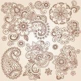 Henna Mehndi Paisley Flowers Vector-Tätowierung Illustr Lizenzfreies Stockbild