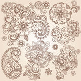 Henna Mehndi Paisley Flowers Vector Tattoo Illustr. Henna Paisley Flowers Mehndi Tattoo Doodles Set- Abstract Floral Illustration Design Elements Royalty Free Stock Image