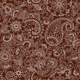 Henna Mehndi Paisley Seamless Pattern Vector Illus. Henna Paisley Flowers Seamless Pattern- Mehndi Tattoo Doodles- Abstract Floral Illustration Background Design stock illustration