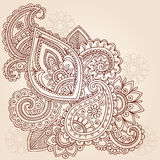Henna Mehndi Paisley Tattoo Doodle Design. Hand-Drawn Abstract Henna Mehndi Tattoo Design Royalty Free Stock Photo