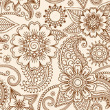 Henna mehndi seamless pattern Stock Photos