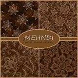Henna Mehndi Tattoo Doodles Seamless Pattern Background Collecti Stock Image