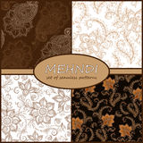 Henna Mehndi Tattoo Doodles Seamless Pattern Background Collecti Royalty Free Stock Image