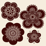 Henna Mehndi Tattoo Flower Silhouettes Vector. Hand-Drawn Abstract Henna Mehndi Tattoo Flower Mandala Designs- Vector Illustration Design Element Royalty Free Stock Photography