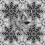 Vector illustration texture. Henna Mehndi Tattoo Flowers Doodles Seamless Pattern. Paisley Flowers Illustration Design Elements Royalty Free Stock Photo
