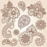 Henna Mehndi Tattoo Paisley Doodles Vector. Henna Flowers and Paisley Mehndi Tattoo Doodles Set- Abstract Floral Vector Illustration Design Elements Stock Images