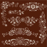 Henna Mehndi Vines and Flowers Decorative Borders Stock Photos