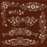 Henna Mehndi Vines and Flowers Decorative Borders. Henna Paisley Vines and Flowers Mehndi Tattoo Decorative Page Corners and Borders Stock Photos