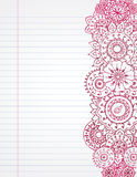 Henna Notebook. Hand drawn henna on lined notebook paper Stock Image