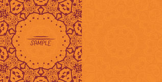 Henna orange antique banner template. Mehndi Stock Photography