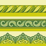 Henna ornamental seamless borders. Mehndi style.Floral green-color borders, gorizontal seamless pattern. Vector gorizontal Indian Floral Borders Vector Illustration