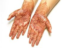 Henna painting on hands Royalty Free Stock Photos