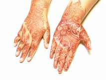 Henna painting on hands Stock Photography