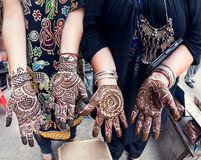 Henna painting in India Royalty Free Stock Photo