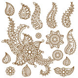 Henna Paisley Flowers Mehndi Tattoo Doodles Design Royalty Free Stock Photo