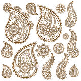 Henna Paisley Flowers Mehndi Tattoo Doodles Design Royalty Free Stock Photos