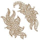 Henna Paisley Flowers Mehndi Tattoo klotterdesign Royaltyfria Bilder