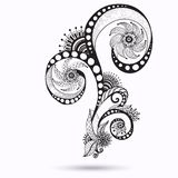 Henna Paisley Mehndi Doodles Design-Element. Stock Foto