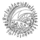Henna Paisley Mehndi Doodles Design-Element Stockfoto