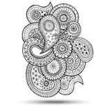 Henna Paisley Mehndi Doodles Design-Element Stock Afbeelding