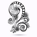 Henna Paisley Mehndi Doodles Design Element. Royalty Free Stock Photo