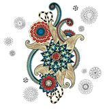 Henna Paisley Mehndi Doodles Design Element. Stock Photo