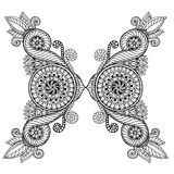 Henna paisley mehndi doodles design tribal design element. Black and white pattern. Royalty Free Stock Photos