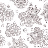 Henna paisley mehndi tattoo doodle seamless vector pattern Stock Photo
