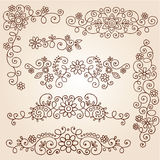 Henna Paisley Vines and Flowers Vector Set. Henna Paisley Vines and Flowers Mehndi Tattoo Doodles royalty free illustration