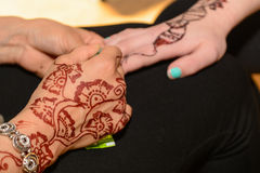 Henna pattern on the arm royalty free stock photography