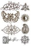 Henna patterns tattoo on a white background Stock Photos